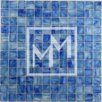 Pâte de verre bleue clair flammée 25*25 mm